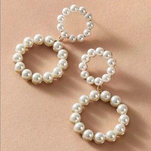 Pearl hoop double circle drop earrings gold